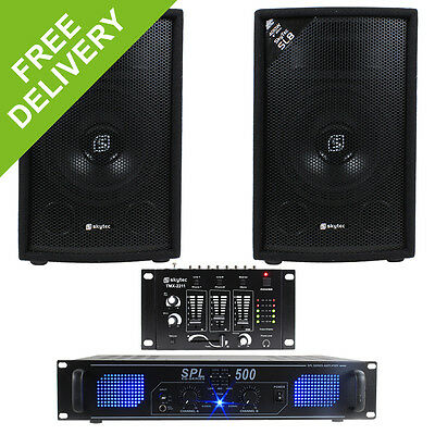 "Skytec 8"" PA Disco Speakers + Amplifier + DJ Mixer  + Cables Party System 800W"