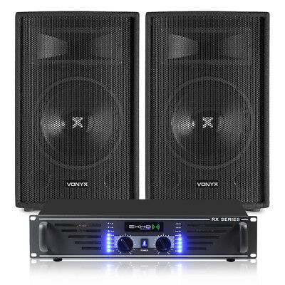 """2x Skytec SL10 10"""" PA DJ Party Speakers + Amplifier + Cables Sound System 1000W"""