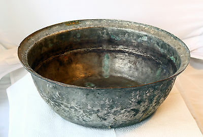 ANTIQUE 19`c ISLAMIC Ottoman Empire LARGE TINNED COPPER DEEP BOWL PLATE