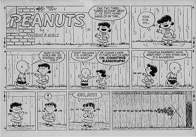 1954 Peanuts Charles Schulz Art Original Production Proof Sunday Page Rare Early