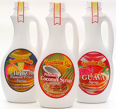Hawaiian Sun Syrup Sampler ~ Coconut, Passion Fruit, Guava 3 / 15.75 Oz