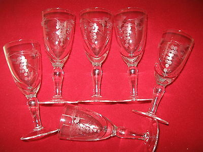 6  Crystal Etched  Sherry / Port /  Wine Liquer Glasses