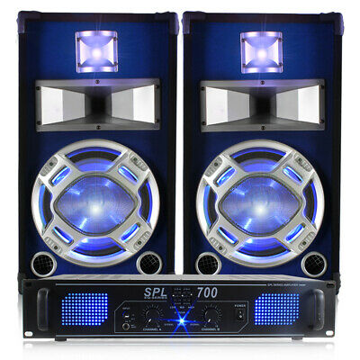 """2x Skytec 10"""" Blue LED Disco Speakers + Amplifier + Cables Disco PA System 800W"""