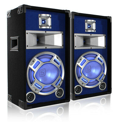 "2x Skytec 10"" Passive Blue LED Disco PA Speakers Party DJ Sound Package 800W"