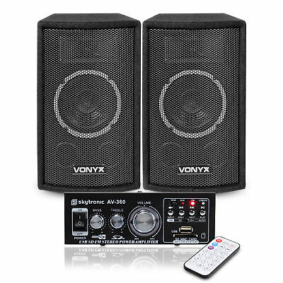 """2x Vonyx SL6 6"""" DJ Speakers + Amplifier + Cables Home Stereo Sound System 250W"""