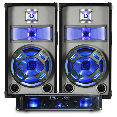 "2x Skytec 10"" DJ PA Party Speakers + Amplifier + Cables Sound System 800W"