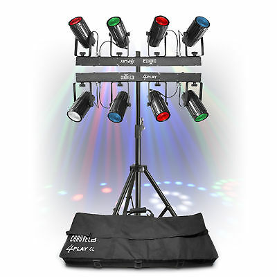 2x Chauvet 4-Play LED Light Rigs + Lighting Stand Moonflower Party Disco DJ