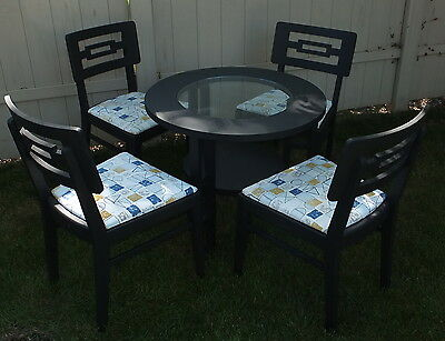 Mid Century c1950s 5 Piece Set Table Chairs Black Vintage Bark Cloth Restored