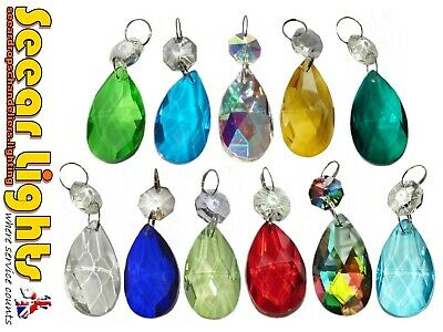 Oval Cut Glass Crystals 5 Chandelier Prisms Drops Antique Quality Light Parts