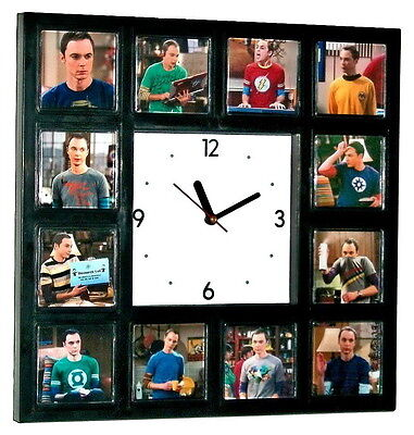 The Big Bang Theory Sheldon Cooper and his t-shirts Clock with 12 pictures