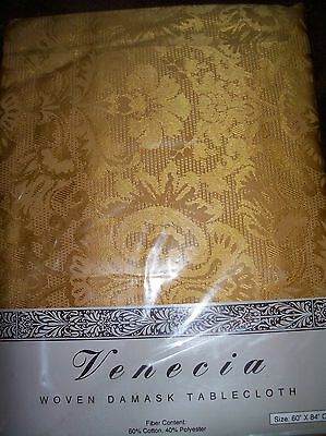 Lovely NIP Venecia Gold Woven Damask Tablecloth 60 by 84 Oblong (New Old Stock)