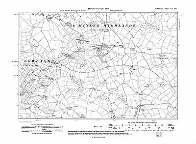 Cornwall repro Corn-36-NW Old map of Liskeard 1907