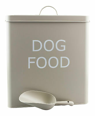 XL Vintage Retro Style Dog Food Storage Tin Box With Scoop in Olive Colour NEW
