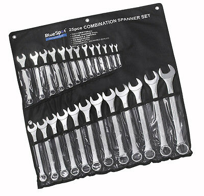 Blue Spot 25 Pce Combination Spanner Set. 6 - 32mm. Chrome Plated Spanners