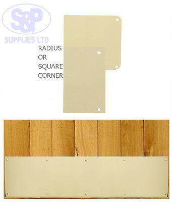 Polished Brass Kick Plate Square Or Radius Corners With Screws, Door Protection