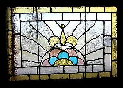 ~ ANTIQUE AMERICAN STAINED GLASS WINDOW ~ 25.25x34.25 ~ ARCHITECTURAL SALVAGE ~