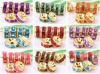 100Pcs 13Colors  Gold Plated Crystal Loose DIY Spacer Beads 8x4mm Hole :2mm