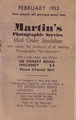 Martin's Photographic Srevices Mail Order Catalogue February 1953 - 28 pages