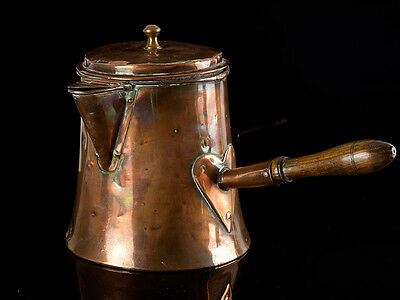 c1810 Georgian Large Copper Coffe Chocolate Kettle Side Handle