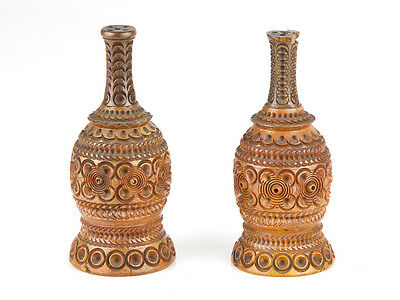 19th Century Pair of Carved Coquilla Nut Salt and Pepper Pots