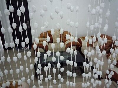 """40x110"""" String Curtain with White Fur Ball for Windows, Wall Decor, Door Divider"""