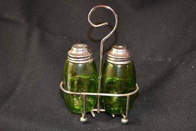 Vintage Airko Green Glass Set Salt & Pepper Shakers With a Carrier