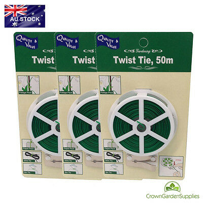 3 X Twist Tie Wire 50M With Cutter For Plants