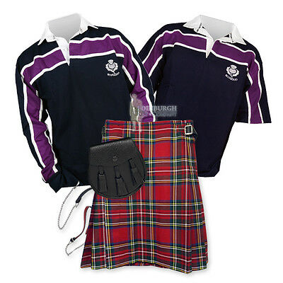 Sports Kit Essential Kilt Outfit - Purple Stripe Rugby Top - Stewart Royal