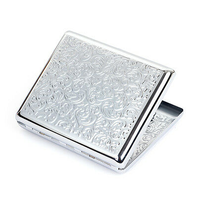 New silver embossed arabesque metal cigarette case hold 20 cigarettes for 100's