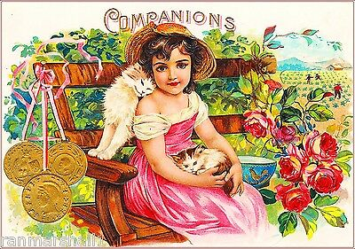 Companions Little Girl & Kitten Cats Vintage Cigar Tobacco Box Crate Label Print