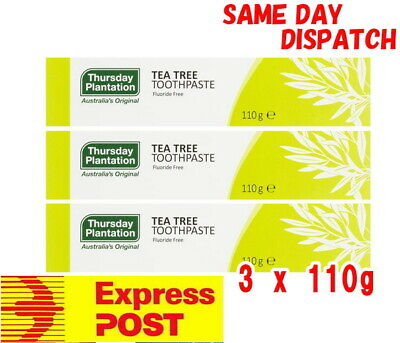 3x Thursday Plantation Tea Tree Toothpaste 110g Fluoride Free