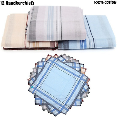 12x Mens HANDKERCHIEFS 100% Cotton Pocket Square Hanky Handkerchief New 35x35cm