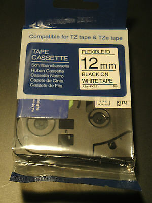 "Black on White Flexible Label Tape 1/2"" 12MM Compatible Brother TZe Fx231 Fx 231"