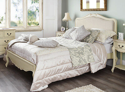 Juliette Shabby Chic Champagne Upholstered King size Bed, 5FT French cream bed