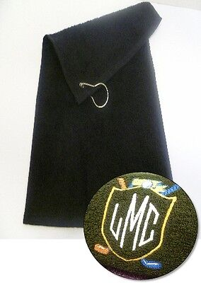 New Personalised Golf Towel- Embroidered with your Monogram Shield & Initials