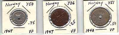 Norway Lot of  3 coins 25 ore 1947 , 2 ore 1947, 50 ore 1948     VF