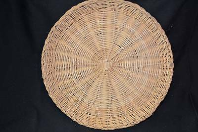 Vintage Mid-Century Wicker Rattan Party Picnic Paper Plate TRAY Serving DISH