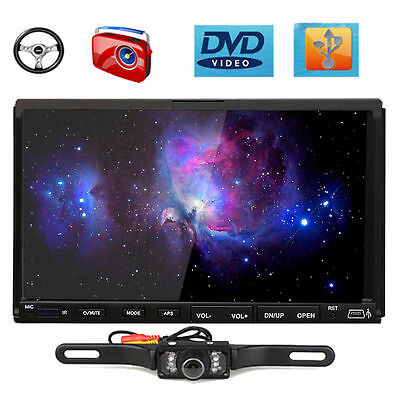 """Cool Double 2 Din 7"""" Flip Down Car DVD CD Player Radio SWC Touch Screen+Camera"""
