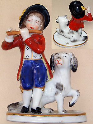 "Sitzendorf Figurine: Boy Playing Flute with Dog: 3¼"" Tall"