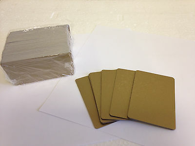100 x CR80 .30 Mil Graphic Quality Gold  PVC Credit Card ID PRINTER Sealed