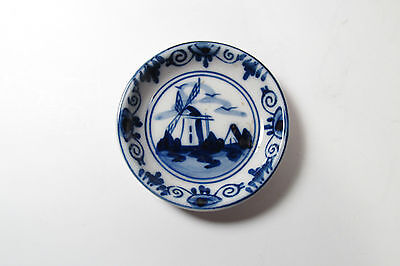 Windmill Mini Plate Hand Painted Blue Delft