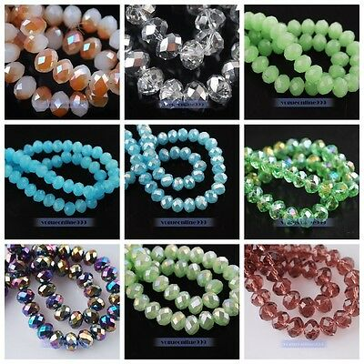 100pcs Glass Crystal Faceted Rondelle Findings Loose Spacer Beads 4mm 30 Colors