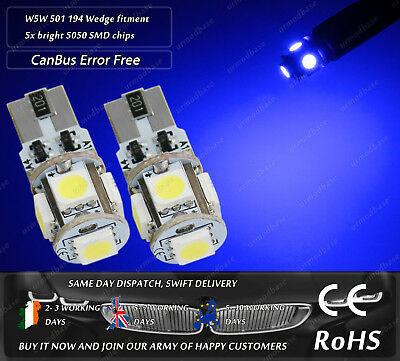 2x CanBus LED No Error HID Blue T10 w5w 501 Wedge Side Lights Parking Bulbs 12v