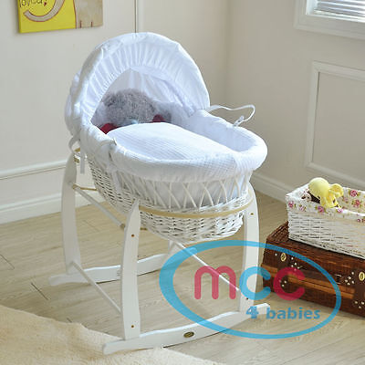 Full Set Palm/ Wicker Moses Basket With Mattress, Cover and Rocking Stand