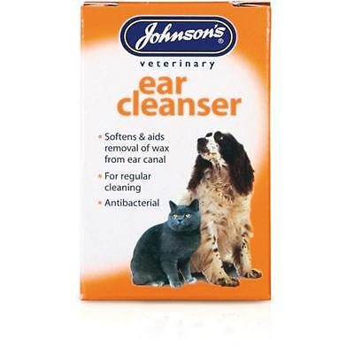 Johnsons EAR CLEANSER Dog Cat Pet Antibacterial Wax Softener Cleaner Drops 18ml