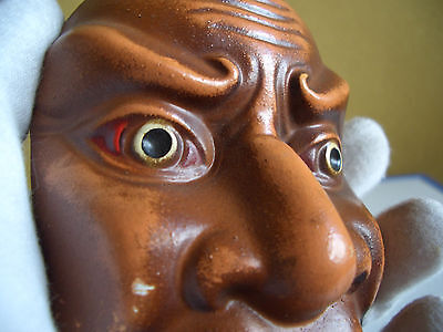 Japanese antique mask made clay removed from something Demon low nose red brown