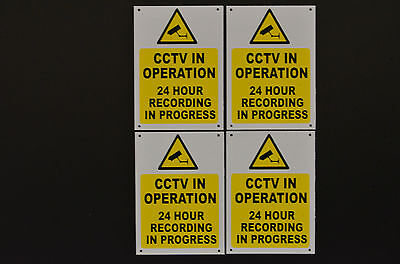 Pack Of 4 CCTV In Operation 24 Hour Recording In Progress Signs/Stickers A6