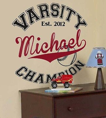 VARSITY Baseball SPORTS Personalized Name Teen Bedroom Vinyl Wall Decal Art