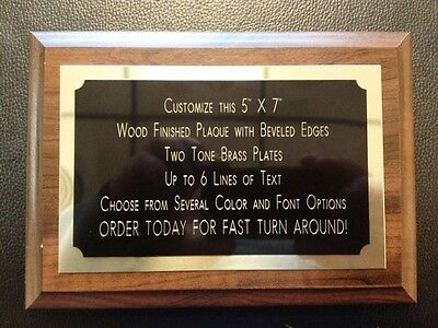 """Recognition Award Plaque 5""""x7"""" Trophy with 2 Tone BRASS Engraved Plate"""