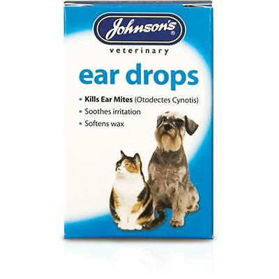 Johnsons EAR DROPS Dog Cat Pyrethrum Mite Killing Soothing Wax Treatment 15ml